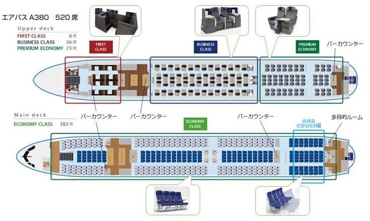 ANA、ハワイ線のA380型機の機内仕様を発表、ファーストクラスに日本初の「ドア付き個室型」席、エコノミーには「ごろ寝」できる座席【画像】