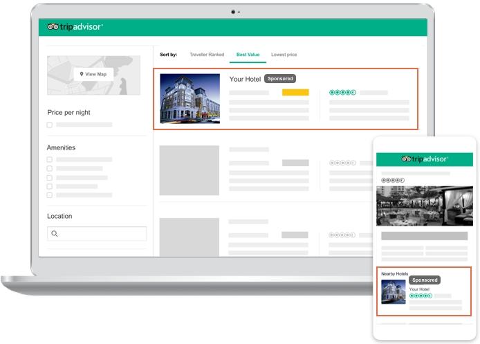 トリップアドバイザー、宿泊施設向けに新たな広告商品、確度の高い見込み客に自動表示でクリック課金