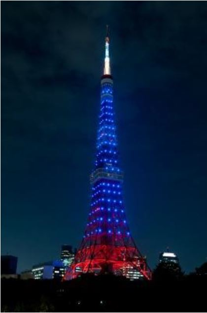 W杯日本戦の試合当日は東京タワーが特別ライトアップ、19日のコロンビア戦から、勝利すれば翌日も
