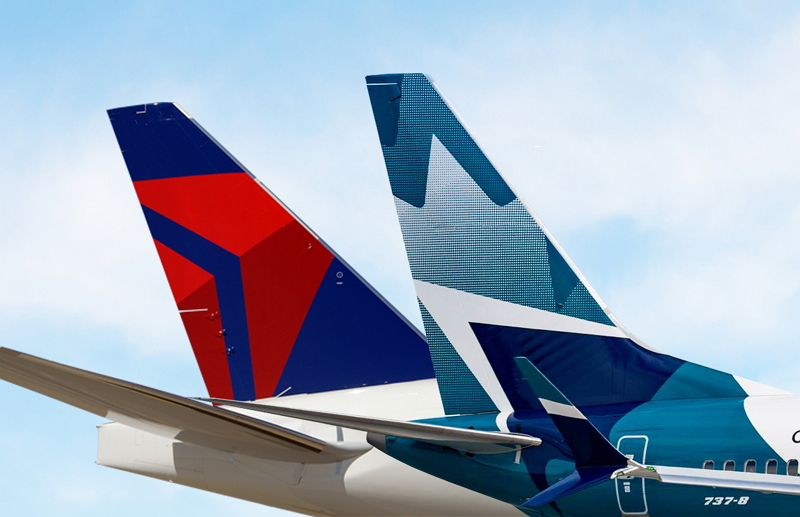 デルタ航空とカナダ「ウエストジェット」が共同運航などで提携強化、米国/カナダ間で、空港施設の共用も