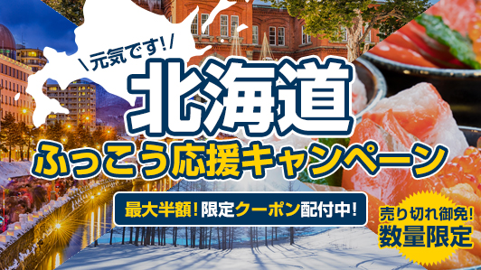 北海道の宿泊最大半額に、エクスペディアが「北海道ふっこう応援キャンペーン」、1人あたり5回までクーポン発行で