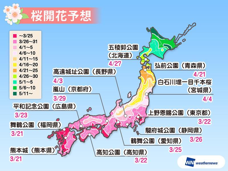 桜の開花予想2019、東京・上野公園は3月22日、北海道道南はゴールデンウィークに満開見込み