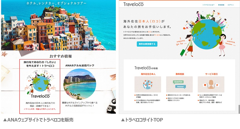 ANAセールス、海外在住の日本人に相談できる「トラベロコ」と連携、ANAサイトのおすすめ情報として
