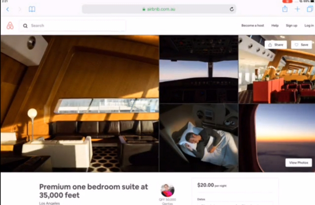 カンタス航空、民泊エアビーに座席を「宿泊施設」として掲載、会員向けにマイレージで予約可能に