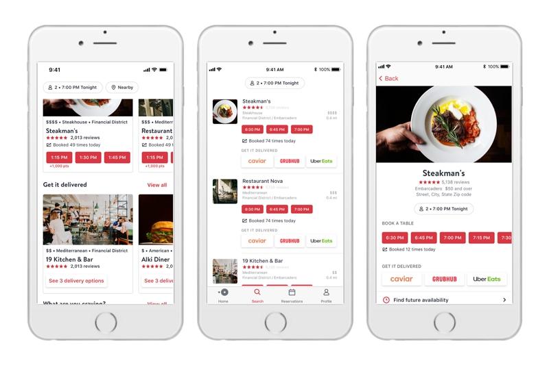 ブッキングHD傘下のレストラン予約「オープンテーブル」、米国で配達サービスを開始、ウーバーらと連携【動画】
