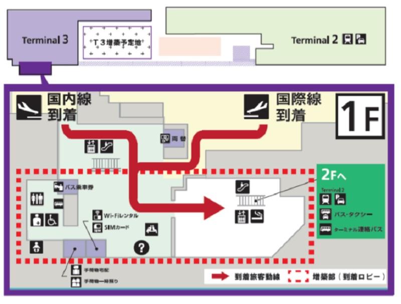 成田空港、第3ターミナルを増築、1階到着ロビー拡張でLCC急成長による混雑緩和