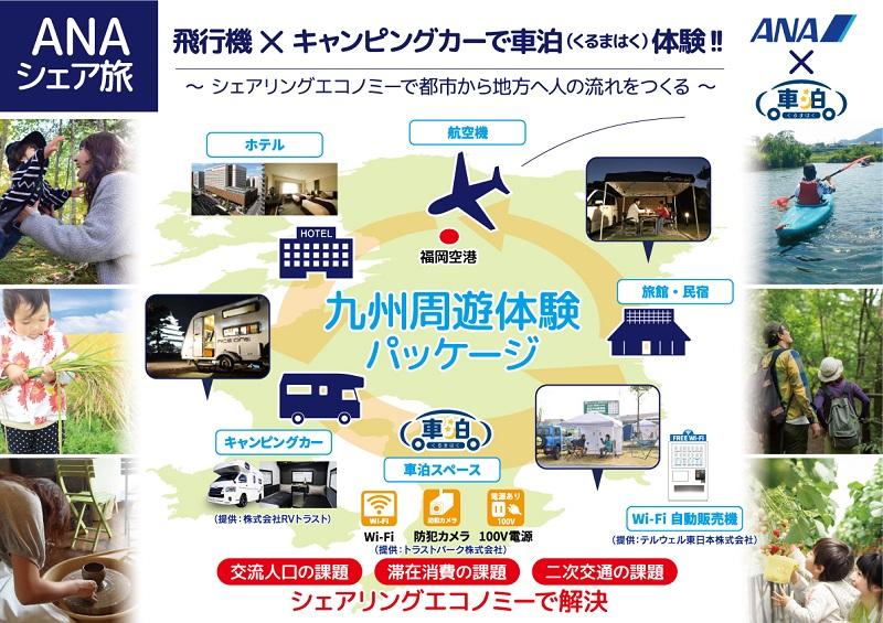 国内航空×キャンピングカーで都市から地方を周遊する旅、九州周遊パッケージで試験販売、不稼働時間の駐車場を車中泊スペースに