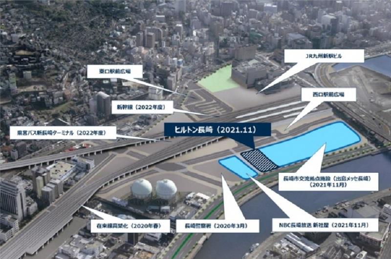 長崎駅直結のヒルトンが開業へ、新たなMICE施設に隣接、交流人口拡大の中核施設に