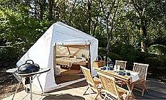 千葉に新たなグランピング施設開業、宿泊者用の温泉施設を併設のテントキャビンで