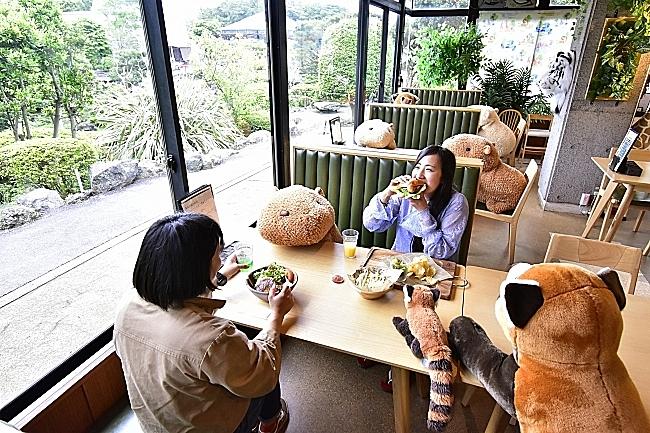 観光施設でソーシャルディスタンス確保のひと工夫、動物ぬいぐるみを相席に、伊豆シャボテン公園でカピバラなどで