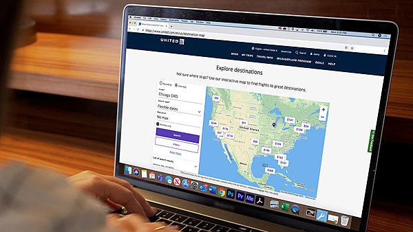 ユナイテッド航空、地図上で目的別・予算内でフライト検索できる新サービス開始、「ビーチ」「国立公園」「文化」など8テーマで